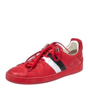 Louis Vuitton Red Suede And Leather Damier Infini Frontrow Sneakers Size 42