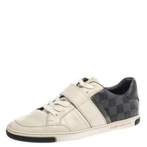 Louis Vuitton White Leather And Damier Graphite Canvas Low Top Sneakers Size 40