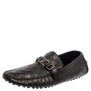 Louis Vuitton Black Leather Damier Infini Hockenheim Moccasins Size 43