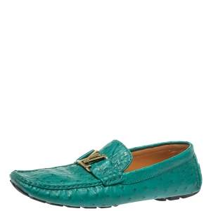 Louis Vuitton Green Ostrich Leather Logo Detail Slip On Loafers Size 46