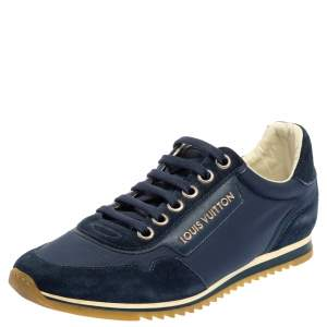 Louis Vuitton Blue Suede And Nylon Trainers Low Top Sneakers Size 39.5