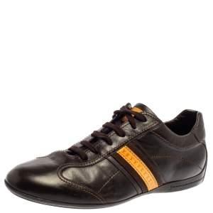 حذاء رياضى لوى فيتون منخفض من أعلى جلد بنى مقاس 41.5
