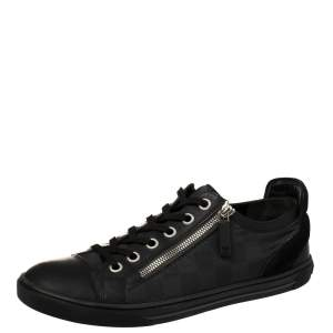 Louis Vuitton Black/Grey Damier Graphite Leather and Suede Punchy Sneakers Size 42