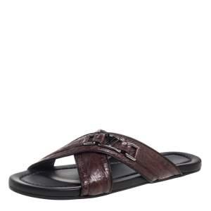 Louis Vuitton Brown Croc Leather Criss Cross Slide Sandals Size 43.5