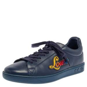 Louis Vuitton Blue Leather Luxembourg Low Top Sneakers Size 40.5
