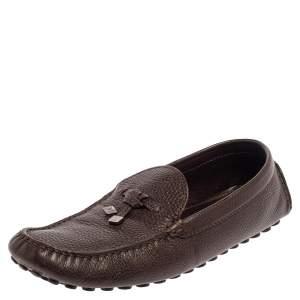 حذاء لوفرز لوي فيتون جلد بني بالشعار سليب أون بفيونكة مقاس 44