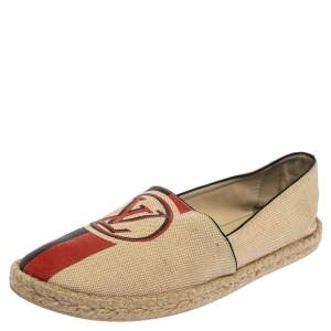 Louis Vuitton Beige Canvas Espadrille Slip On Loafers Size 41
