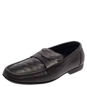 Louis Vuitton Black Damier Embossed Santiago Loafers Size 41.5