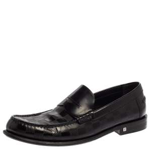 Louis Vuitton Black Leather Damier Embossed Santiago Loafers Size 41