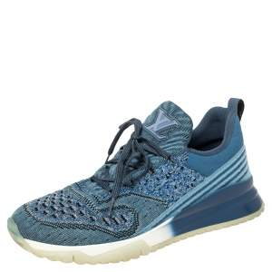 Louis Vuitton Blue Knit Fabric VNR Sneakers Size 41.5