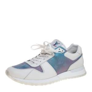 Louis Vuitton White Iridescent Leather And Technical Rubber Run Away Sneakers Size 45