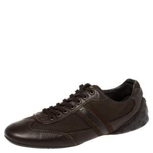 حذاء رياضي لوي فيتون أربطة جلد نقش مونوغرامي بني مقاس 42