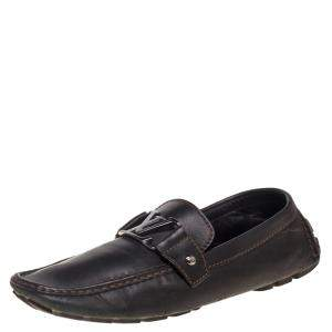 Louis Vuitton Dark Brown Leather Monte Carlo Loafers Size 43