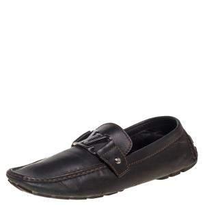 حذاء لوفرز لوي فيتون مونت كارلو جلد بني داكن مقاس 43