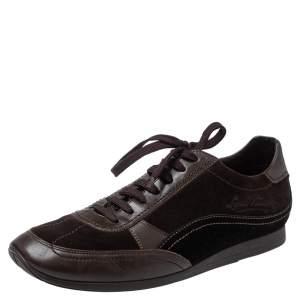 حذاء رياضى لوى فيتون منخفض من أعلى جلد وسويدى بنى مقاس 43.5