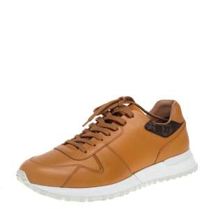 Louis Vuitton Tan/Brown Monogram Canvas And Leather Run Away Sneakers Size 41.5
