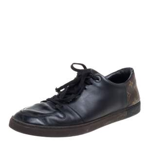 Louis Vuitton Black Leather And Monogram Canvas Line Up Low Top Sneakers Size 43