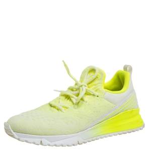 Louis Vuitton Neon Yellow Knit Fabric V.N.R Sneakers Size 41