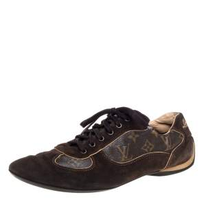 Louis Vuitton Brown Monogram Canvas And  Suede Sneakers Size 43.5