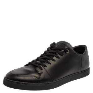 Louis Vuitton Black Leather And Damier Canvas Low Top Sneaker Size 43
