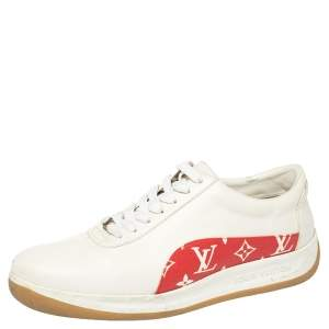 Louis Vuitton x Supreme White Leather and Monogram Canvas Trim Sport Sneakers Size 43
