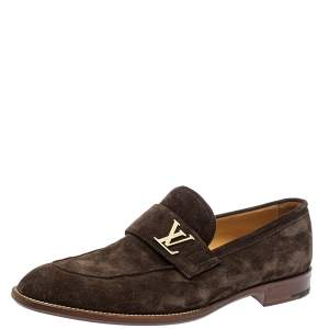 Louis Vuitton Brown Suede Saint Germain Slip On Loafers Size 43
