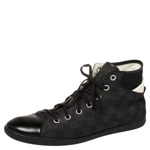 Louis Vuitton Black Damier Coated Canvas And Leather Sneakers Size 44