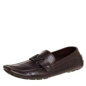 حذاء لوفرز لوى فيتون سليب أون مونت كارلو جلد بنى داكن مقاس 45