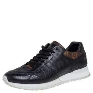 Louis Vuitton Black Python and Monogram Canvas Run Away Low Top Sneakers Size 40