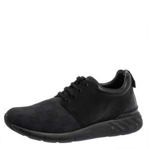 Louis Vuitton Black Damier Nylon and Nubuck Fastlane Sneakers Size 40