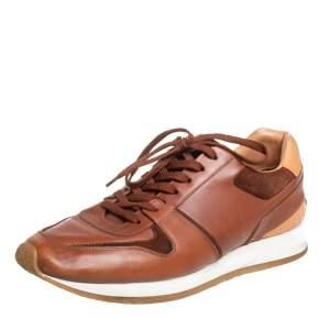 حذاء رياضي لوي فيتون منخفض من أعلى رباط جلد بني فاتح مقاس 43
