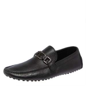Louis Vuitton Black Leather Hockenheim Driver Loafers Size 41.5
