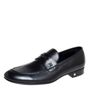 Louis Vuitton Black Leather Santiago Loafers Size 41.5