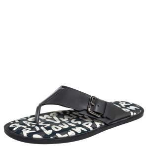 Louis Vuitton Black Leather Thong Sandals Size 41.5