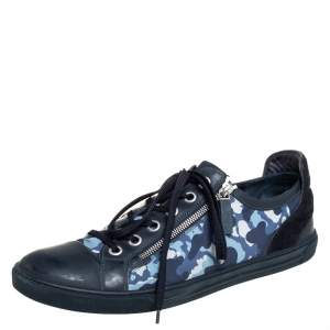 Louis Vuitton Blue Camouflage Nylon And Suede Cap Toe Low Top Sneakers Size 43.5