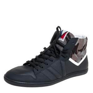 Louis Vuitton Black Leather And Camouflage Print Calf Hair High Top Sneakers Size 43