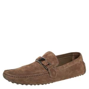Louis Vuitton Brown Suede Hockenheim Loafers Size 43.5