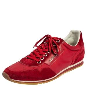 Louis Vuitton Red Suede And Nylon Low Top Sneakers Size 43.5