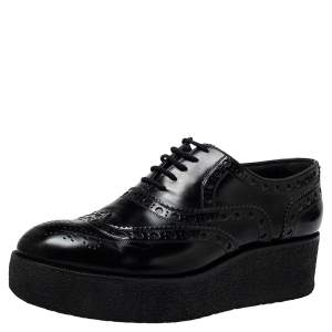 Louis Vuitton Black Brogue Leather Platform Derby Size 38.5