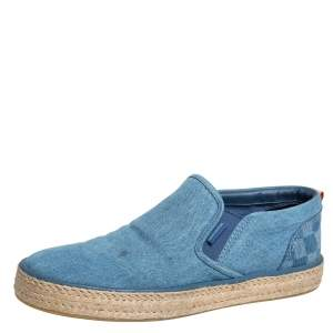 Louis Vuitton Blue Denim Slip On Espadrille Sneakers Size 44