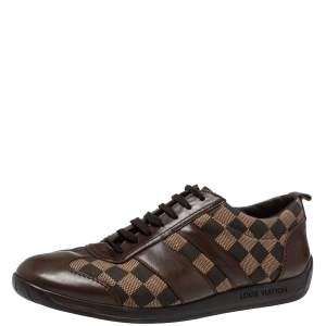 Louis Vuitton Two Tone Damier Ebene Fabric And Leather Low Top Sneakers Size 45