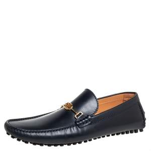 Louis Vuitton Black Leather LV Club Slip On Loafers Size 41