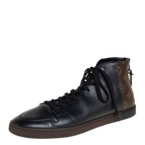 Louis Vuitton Black/Brown Leather And Monogram Canvas Line Up High Top Sneakers Size 42.5