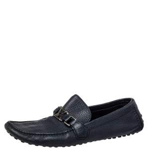 Louis Vuitton Blue Textured Leather Hockenheim Moccasins Size 43