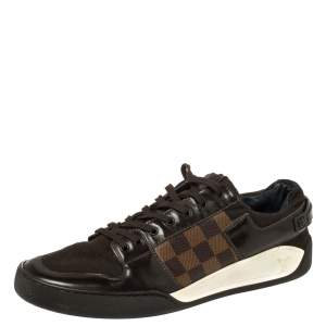 Louis Vuitton Brown Leather And Damier Ebene Canvas Lace Up Sneakers Size 42.5