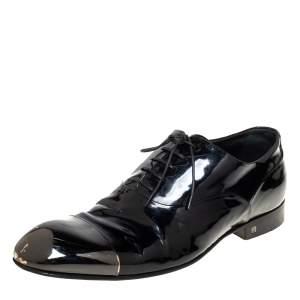 Louis Vuitton Black Patent Leather Metal Cap Toe Lace Up Oxford Size 42.5