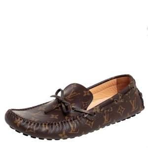 Louis Vuitton Brown/Beige Monogram Canvas Arizona Slip On Loafers Size 43.5