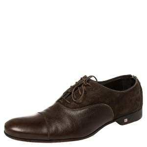 حذاء أكسفورد لوي فيتون أردواز أطلس جلد وسويدي بني مقاس 42