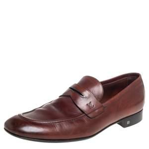 حذاء لوفرز لوي فيتون سليب أون بيني جلد بني مقاس 43.5