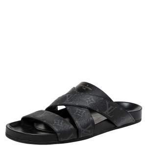Louis Vuitton Black Monogram Leather Mirabeau Mule Sandals Size 43